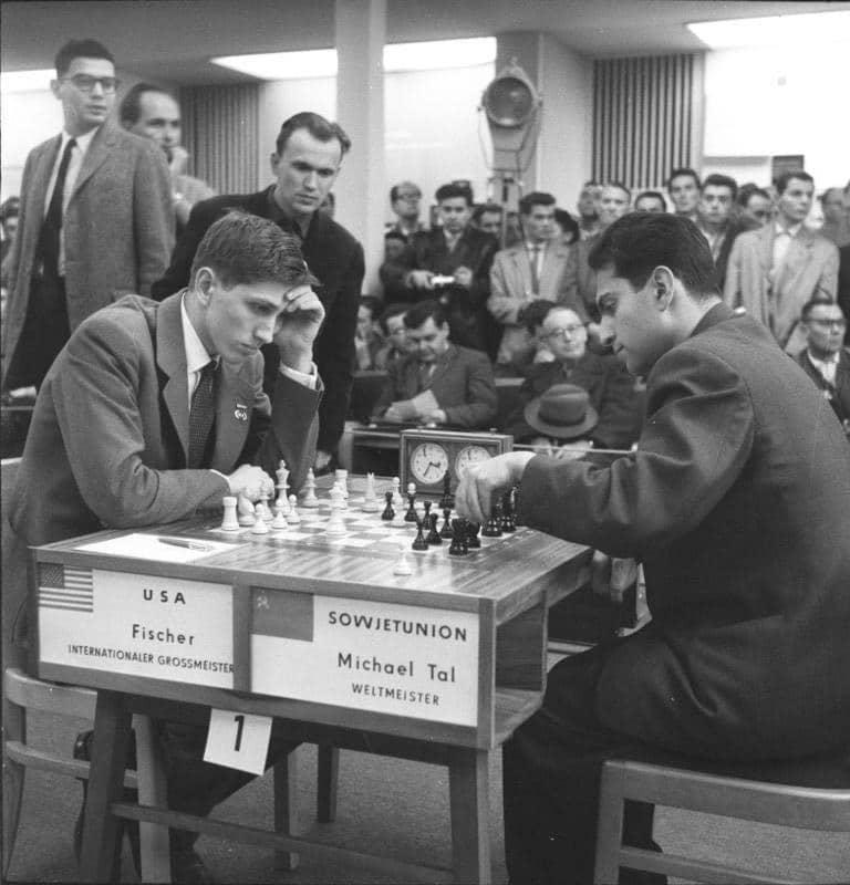 Samuel Reshevsky, Miguel Najdorf, Mikhail Botvinnik, Nicolas Rossolimo and Efim Bogoljubov